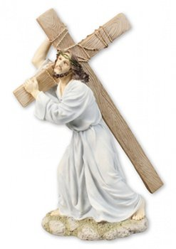 Biblegifts Pasqua Statue Jesus Our Lord Carrying Cross to Calvary 30,5 cm (30 cm) ad Alta Resina Dipinta a Mano in Scatola