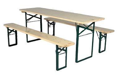 Kunibert Ensemble table de jardin de bière de qualité 1 A - Largeur de la table : 80 cm - Couleur : naturel - Longueur : 220 cm