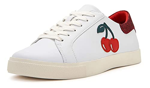 Katy Perry Women's The Rizzo Sneaker, CHERRY/WHITE, 5