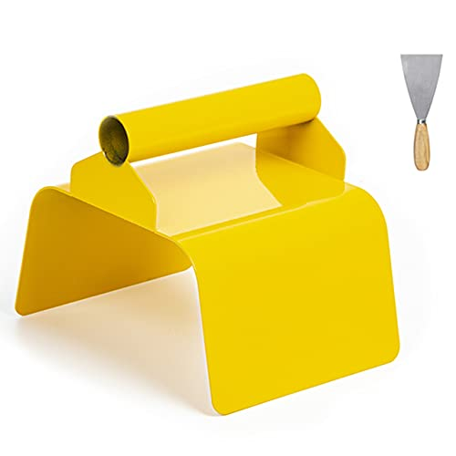 """Landscape Curb Trowel 4"""" x 6"""" x 4"""" Stainless Steel Concrete Curbing Trowel Concrete Curb Tool Rectangle Edger Yellow Cement Model Tools with Handle and Putty Knife"""