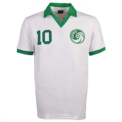 New York Cosmos Pele White Retro Football Soccer T-Shirt Jersey with Pele 10