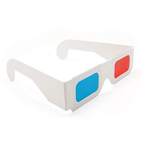 4Pcs Occhiali 3D universali in Carta Realizzati con cartoncino Bianco con Lenti Rosse e Ciano Adatto per Film Riviste TV Fumetti Anaglifi Video Internet Video e Immagini e Altro