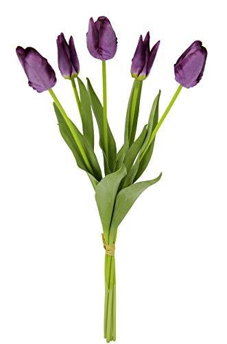 Real-Touch Tulpenbund mit 5 Blüten, 53 cm, Frühjahrsdeko, Frühlingsdeko, Osterdeko, Kunstblumen, Künstliche Blumen, Violett