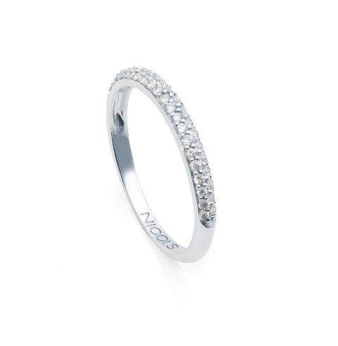NICOLS 14710530011 - Anillo oro blanco y diamantes talla brillante Diamond Classic. Media alianzaen línea, engastada en pavé. Peso total D0.32ct.