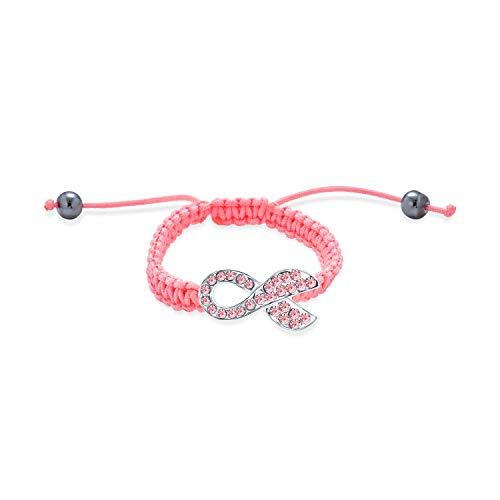 Bling Jewelry Sobreviviente De Cáncer De Seno De Cristal Pink Lazo Cable Trenzado Pulsera Ajustable Mujer Aleación Chapada En Plata