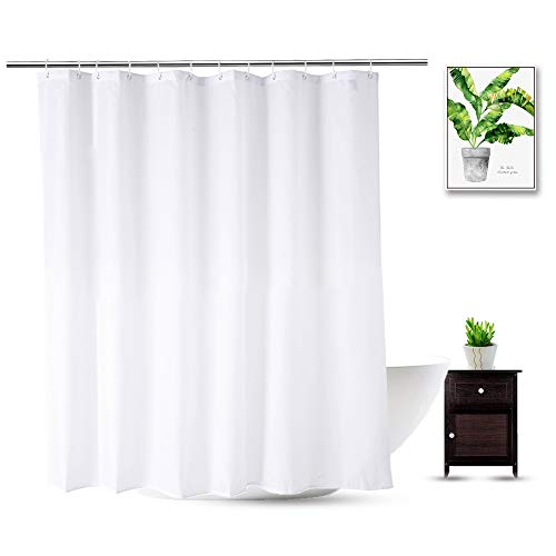Fabric Shower Curtain Liner 70 x 74 Inch, Water Repellent Polyester Long Bathroom Shower Curtains Spa and Hotel Quality, Machine Washable, White