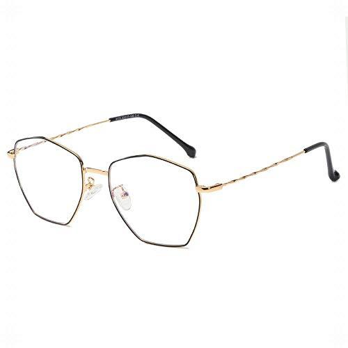 TEYUN Marco Poligonal Unisex con Estilo Lente Clara Eyewear Gafas (Color : Gold/Black)