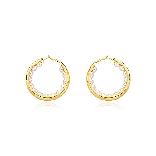 S925 Silver Needle Big Hoop Temperament Pearl Earrings European and American Wind Hoop Earrings