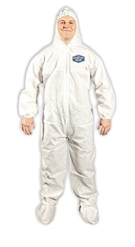 Quest Comfortwear Disposable Coveralls for Dry Environments - Protective Safety Clothing with Hood and Boot – Hooded Hazmat Suit with Zipper Closure – White, 2X-Large, Pack of 25