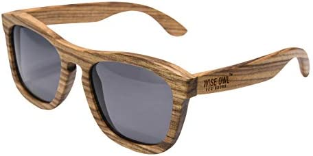 Wiseowl High End Polarized Zebra Wood Sunglasses Eco friendly Lightweight and Floating Wooden product image