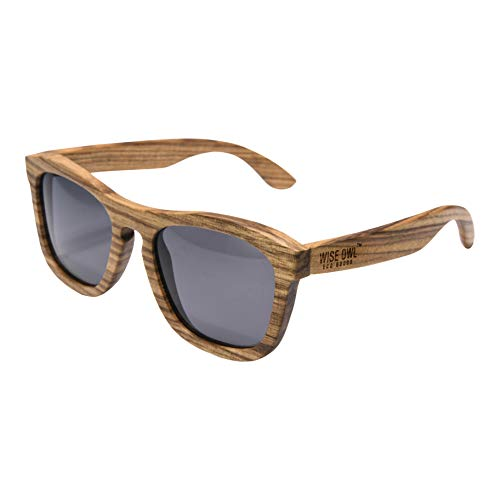 Wiseowl High-End Polarized Zebra Wood Sunglasses |Eco-friendly, Lightweight, and Floating Wooden Sunglasses For Men & Women