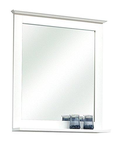 Badezimmerspiegel Badspiegel Spiegelpaneel | Weiß matt | mit Ablage