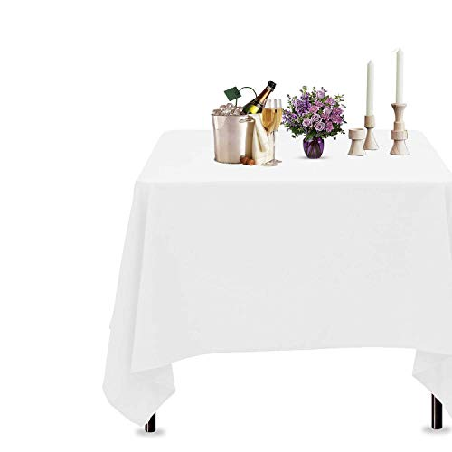 Trimming Shop White Cotton Polyester Square Table Cloth Cover For Dining & Christmas Party 54 x 54 Inches (Pack of 5)