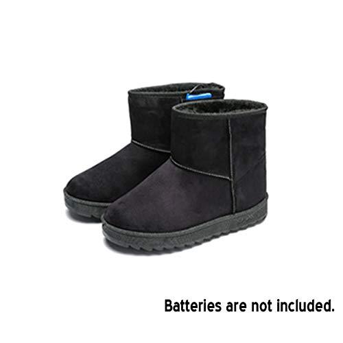 NICOLIE Botas Eléctricas De Invierno para Hombre, Zapatos De Nieve, Zapatos De Plantillas De Calefacción Cálida con Alimentación USB - Negro - 41