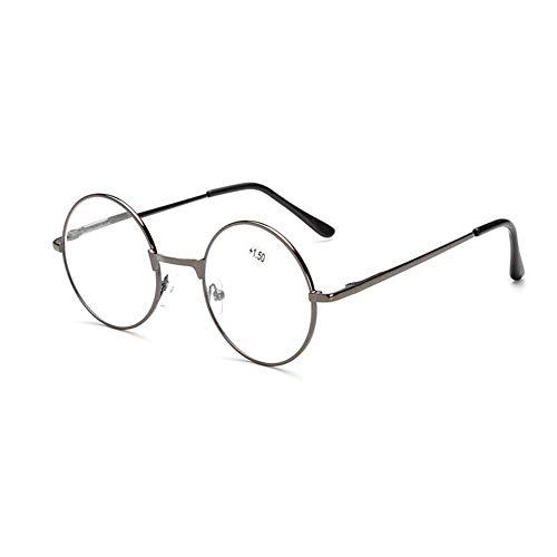 Inlefen Retro unisex ronda primavera bisagras gafas de lectura marco de metal para hombres y mujeres (Gun +2.50)
