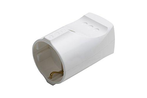 Meister Schutzkontakt-Kupplung - Kunststoff - weiß - 250 V - 16 A - Maximaler Kabelquerschnitt 2,5 mm² - IP20 Innenbereich - Gerade Einführung / Schuko-Kupplung mit Zugentlastung / 7422010