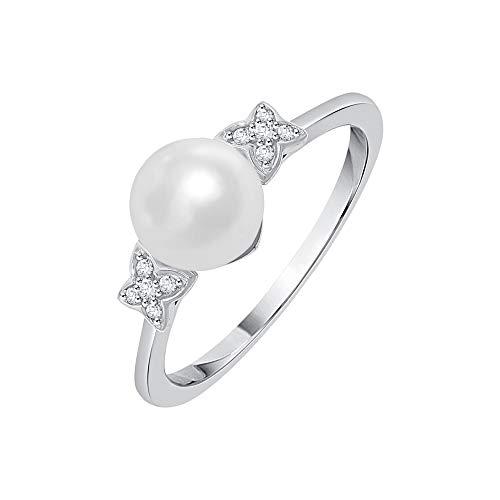 KATARINA Anillo de moda de diamantes y perlas en oro de 14 quilates (1/20 cttw, J-K, SI2-I1)