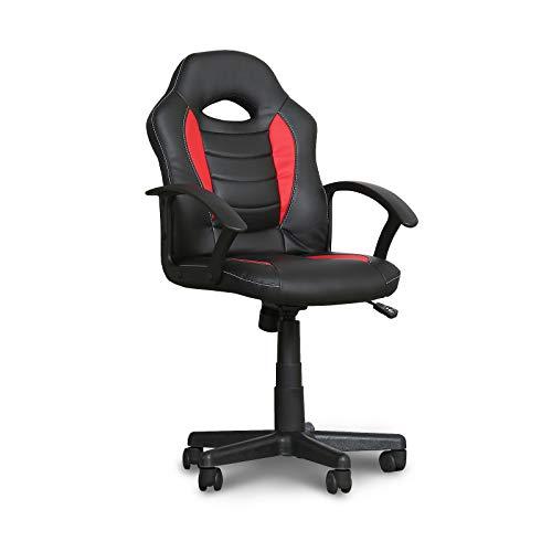CANMOV - Silla de ordenador con reposabrazos acolchados, silla de oficina ergonómica, altura regulable, silla de ordenador con cómodo respaldo de cintura transpirable (negro y rojo)