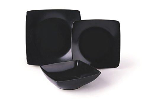 Excelsa Eclipse Servicio de platos, cerámica, Negro