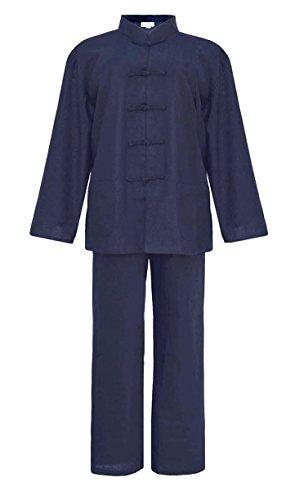 Laciteinterdite Tai Chi Abbigliamento Blu Cotone e Lino per lUomo, Uniforme Qi Gong e Kung Fu, Abiti da Arti Marziali Taglia XL