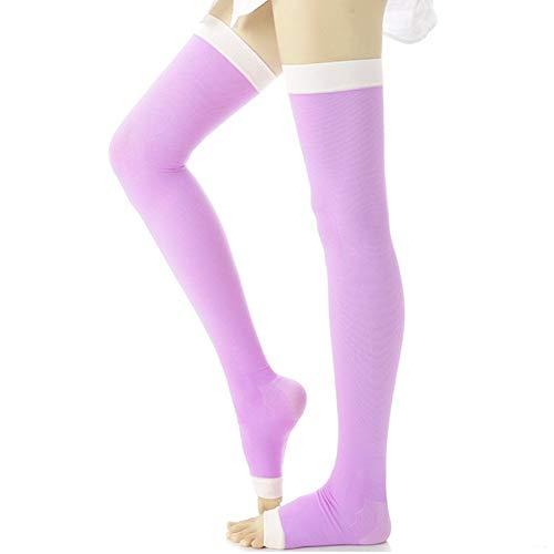 TININNA Femmes Minceur Chaussette De Contention Compression Bas Jambes Anti Varices Chaussette de Couchage Violet