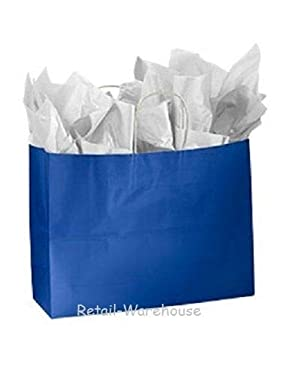"""Buy All Store Paper Shopping Bags 100 Glossy Royal Blue Retail Gift Merchandise 16"""" x 6"""" x 12"""""""