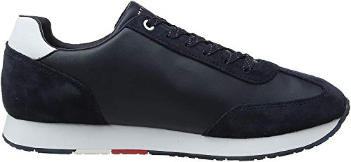 Tommy Hilfiger Corporate Leather Flag Runner, Zapatillas para Hombre, Midnight 403, 45 EU