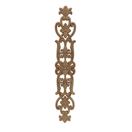 wkd-thvb Antiguo Apliques De Madera Decorativos Para Muebles Decoración Puerta Gabinete Irregular Molduras De Madera Flor Talla Estatuilla 45cmX75cm