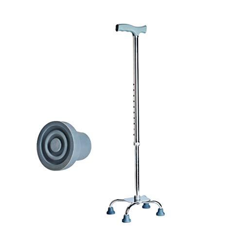DONG QING-hanger Gehstock Ultraleichtes, höhenverstellbares, Komfortables und rutschfestes 4-Punkt-Rohr, Geschenke für Gehhilfen für Eltern und ältere Menschen (Color : Silver)