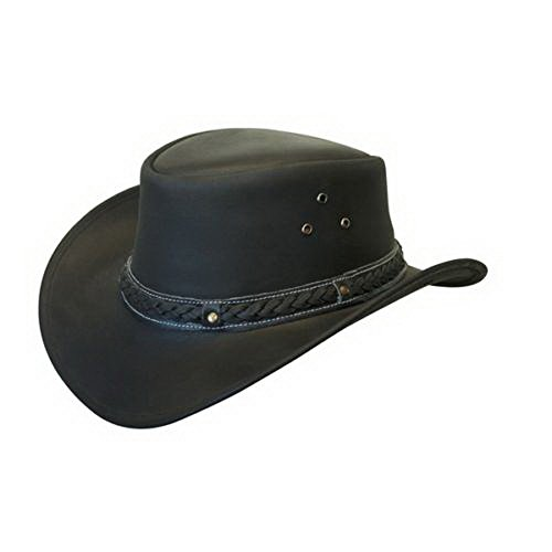 Leather Down Under HAT Aussie Bush Cowboy Classic Western Outback Black L