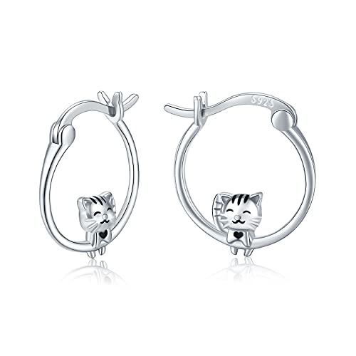 Pendientes de gato de plata de ley 925, pendientes de aro con forma de gato, joyas bonito regalo para mujeres, niñas, niñas y niños
