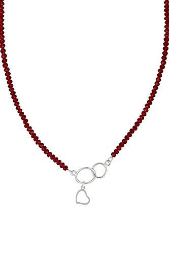 Córdoba Jewels   Gargantilla en Plata de Ley 925 con Swarovski con diseño Alianzas Corazón Rubí Swarovski