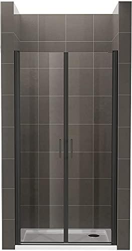 Moments of Glass Mampara de ducha 85x190 cm rango de ajuste de 85-88 cm, altura: 190 cm, vidrio de seguridad ESG con nano transparente de 6 mm con perfiles de aluminio negro - BC