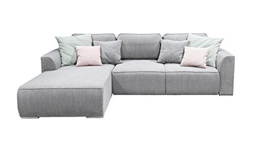 Stella Trading Lazy 2teilige Ecke Ecksofa, Polyester, Grau/Mint/Flamingo, 206 x 294 x 90 cm