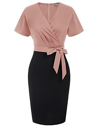 GRACE KARIN Damen Kurzarm Sexy Bodycon Kleid V-Ausschnitt Bleistiftkleid mit Gürtel 2XL Hellrosa-Schwarz CL0025S21-04