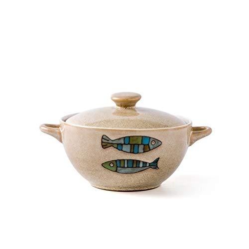 Bowl Keuken Porselein Met Deksel, Ronde Ramen Kaas Saus Restaurant Servies Bar Keukengerei Dubbele Handvat 6 Inch Familie