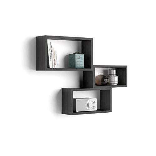 Mobili Fiver, Set de 3 esatantes de Pared rectangulares, Modelo Giuditta, Color Madera Negra, Aglomerado y Melamina, Made in Italy