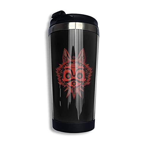 DJNGN Taza de café de viaje con tapa abatible, botella de agua de acero inoxidable Prin-Cess Mon-Onoke de 14 onzas, divertida taza para hombres, mujeres, amigos