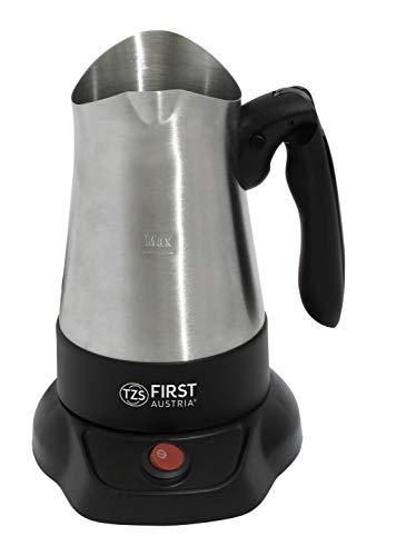 TZS First Austria Kaffeekocher, türkischer Mokkakocher für 0,35 L, auch als Wasserkocher verwendbar, mit ausklappbarem Handgriff, in Schwarz/Edelstahl, 800 W