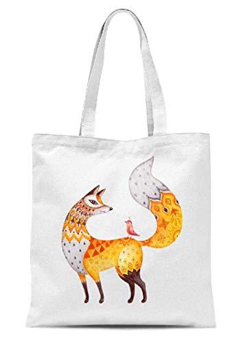 Stofftasche mit Tiermotiv, niedlicher Fuchs, abstrakt, zum Basteln, Schultertasche für Kinder, Geschenk
