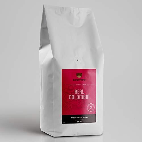 Brown Bear Real Colombia Kaffeebohnen, Mittlere Röstung, 1 kg Kaffee Ganze Bohnen Columbia Medium Roast Coffee Beans