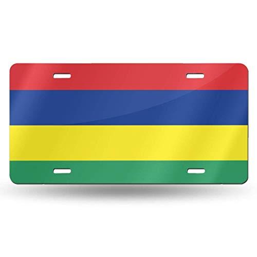 BEDKKJY Mauritius Flaggenkennzeichen Dekoratives Autokennzeichen, Waschtischschild, Metallautokennzeichen, Aluminium-Neuheitskennzeichen, 6 x 12 Zoll