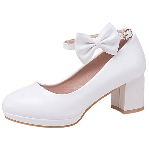 Lydee Mujer Dulce Pumps Tacon Medio Ankle Strap Bow Custome Boda Dress...