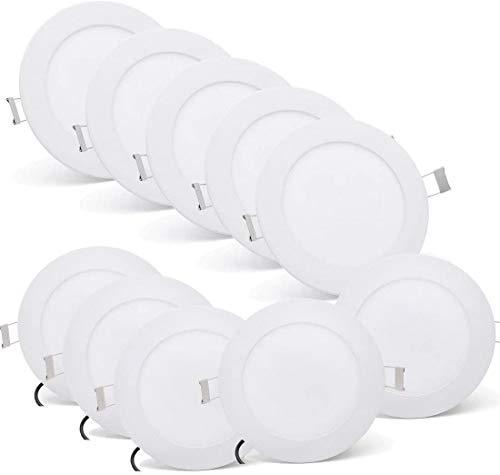 [10 Stück] MIWOOHO LED Einbauleuchten Spots 6W Ultraslim Slim LED Panel Einbaustrahler Einbauleuchte Deckenleuchte Deckenlampe Wandleuchte Einbau Lampe Rund (6W Warmweiß)