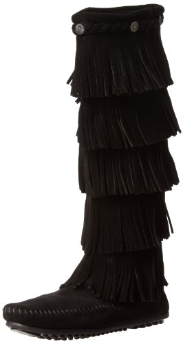 Minnetonka Women's 5-Layer Fringe Boot,Black,7 M US