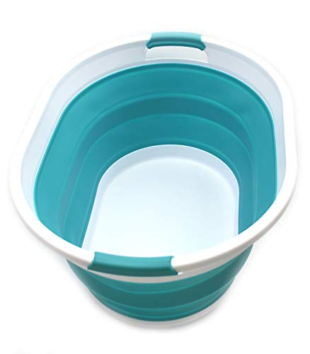 SAMMART Faltbarer Wäschekorb aus Kunststoff - Ovale Wanne/Korb - Faltbarer Aufbewahrungsbehälter/Organizer - Tragbarer Waschtrog - Platzsparender Wäschekorb (Hellblau)