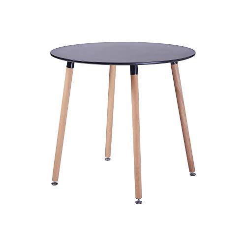 H.J WeDoo Runder Esszimmertisch Design Küchentisch Skandinavisch Esstisch MDF mit 4 Buchenbeine, HxD: 73 x 80 cm, Schwarz