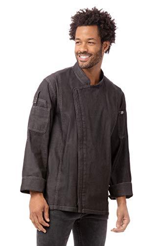 Chef Works Men's Gramercy Denim Chef Coat, Black, Small