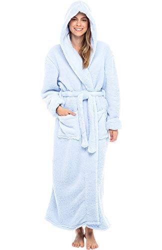 Alexander Del Rossa Women's Plush Fleece Robe with Hood, Long Warm Bathrobe, Small Medium Light Blue (A0304LBLMD)