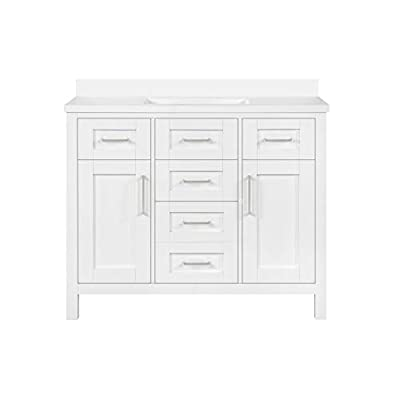 """Ove Decors Tahoe III 42"""" White Bathroom Vanity Cabinet with Cultured Marble Countertop 
